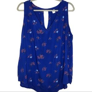 Old Navy Bright Blue Floral Print Tank Top
